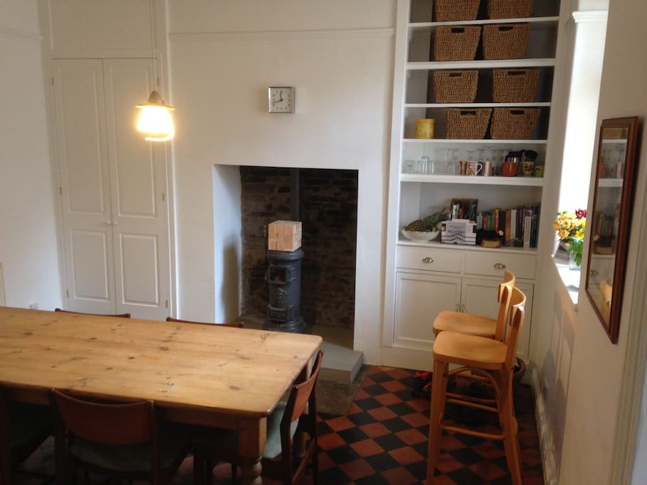 Dining Room with Wood burning stove and seating for six