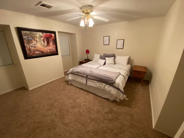 Master Bedroom. King Bed. New mattress and linens.
