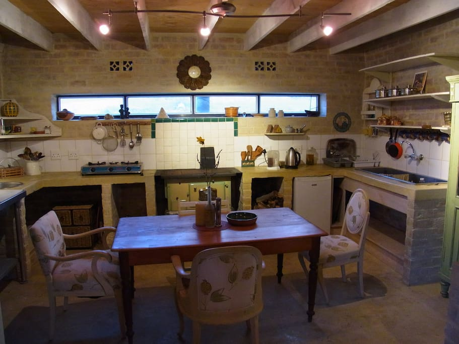 Provence-style eco-kitchen, rainwater and wood-burning stove, also gas hotplate option