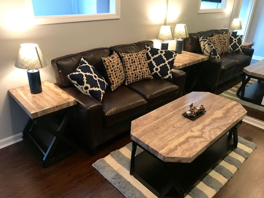Living area with a Serta couch!