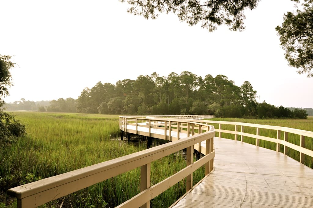 One of the several footbridges to the nature preserve islands.