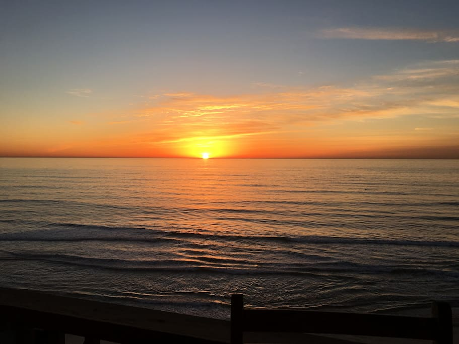 Amazing unobstructed Sunsets at the  Gated Del Mar Beach Club community.  2 private parking spaces and ample onsite guest parking.  Walk to Del Mar Race Track, restaurants and shops.