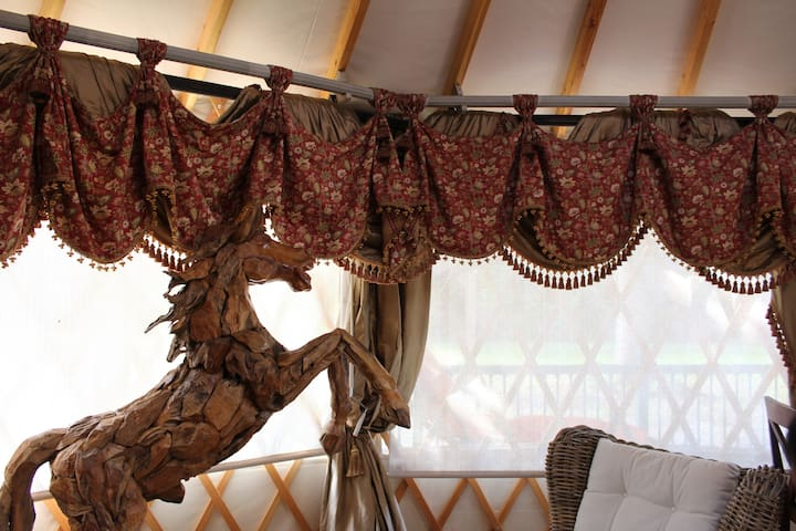 The Yurt has a feel of elegance.