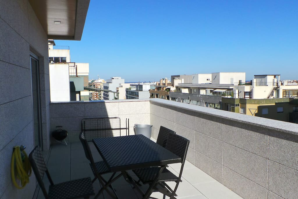 Great terrace with barbecue and view