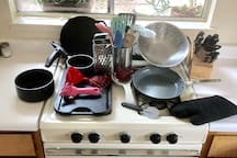 The kitchen is fully equipped with almost any kitchen tool you could need from colanders to can openers. I have both non-stick as well as cast iron cookware, knives, measuring cups, cheese graters, etc.