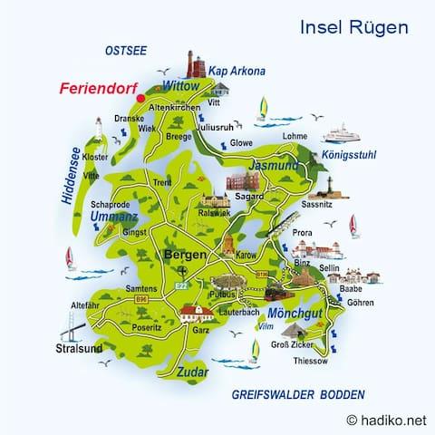 Lage vom Feriendorf auf Rügen