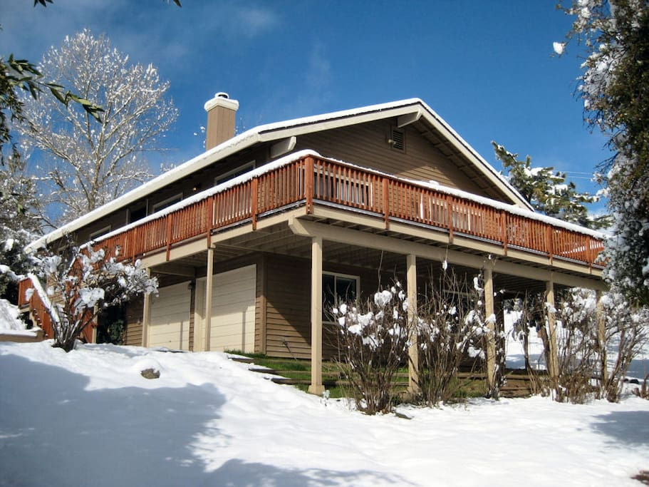 Here's our house after a winter snow storm.  Note: it doesn't snow here often.