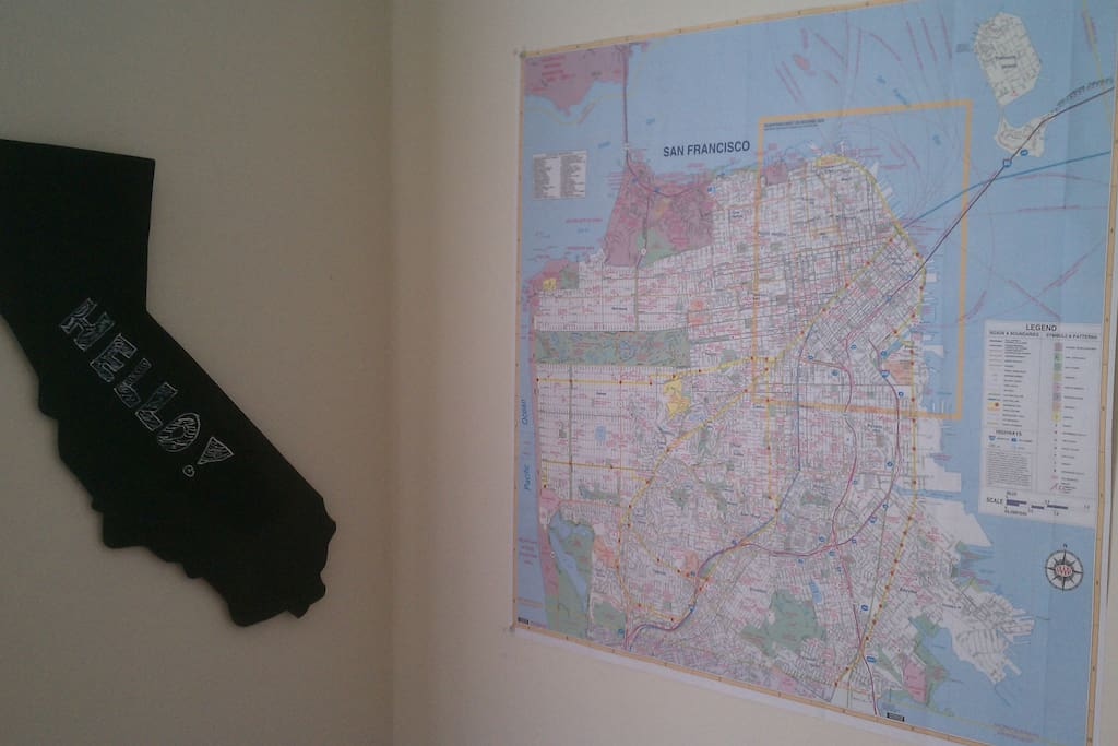 California chalkboard and map of San Francisco.