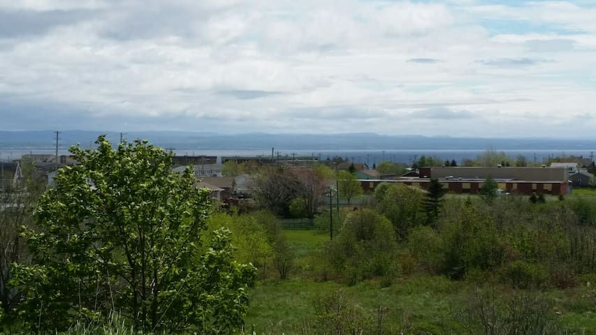 View from the apartment. Port Harmon and the ocean in the background