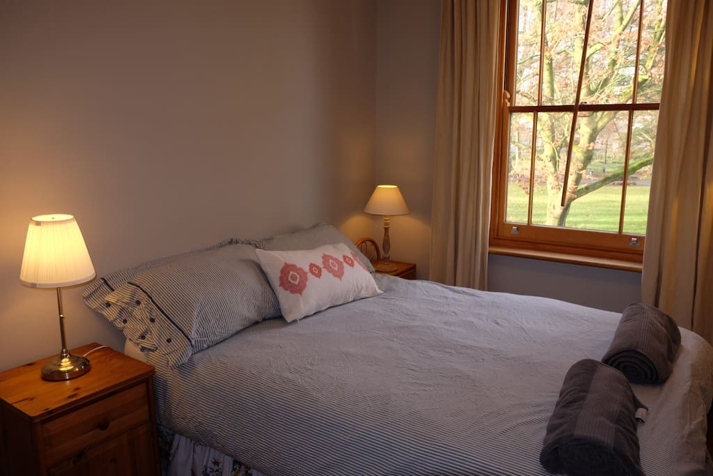 Our second bedroom boasts a stunning view of Mina Park, and a really comfy double bed.