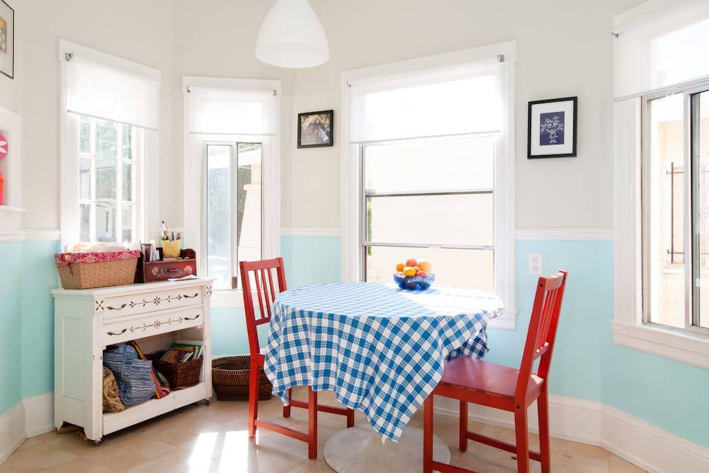 The Breakfast Nook!  Light filled and where it all happens.
