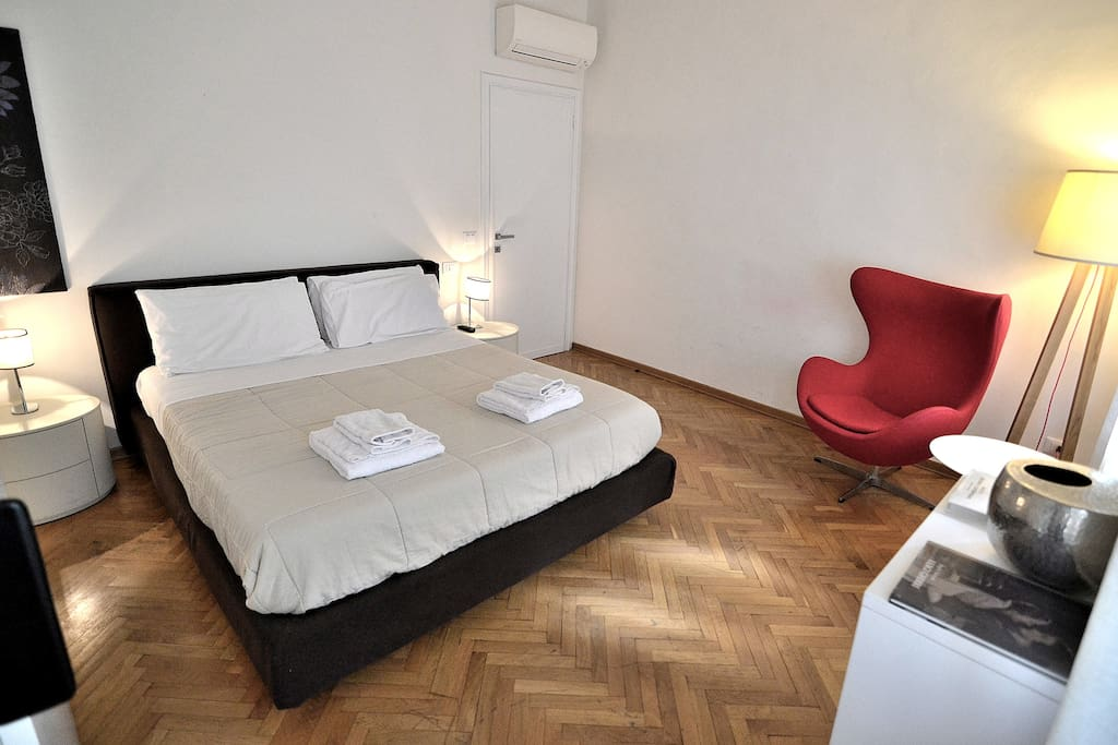 The Double Bedroom of your apartment with Queen Size comfortable bed, TV, A/C, big wardrobe!