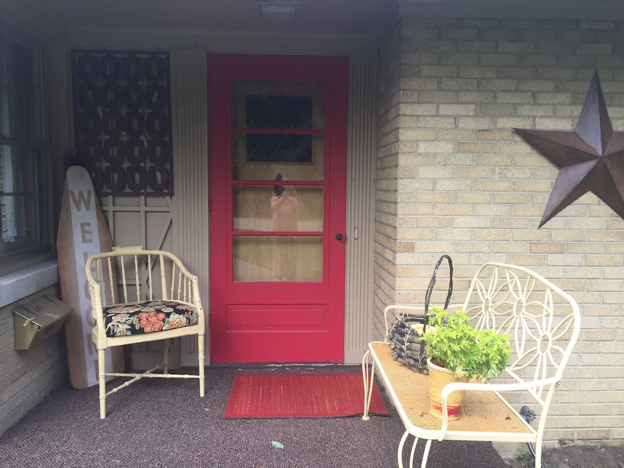 """Welcoming """"red"""" door, says Hello and come on in...."""