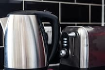 Kettle and Toaster in Kitchen