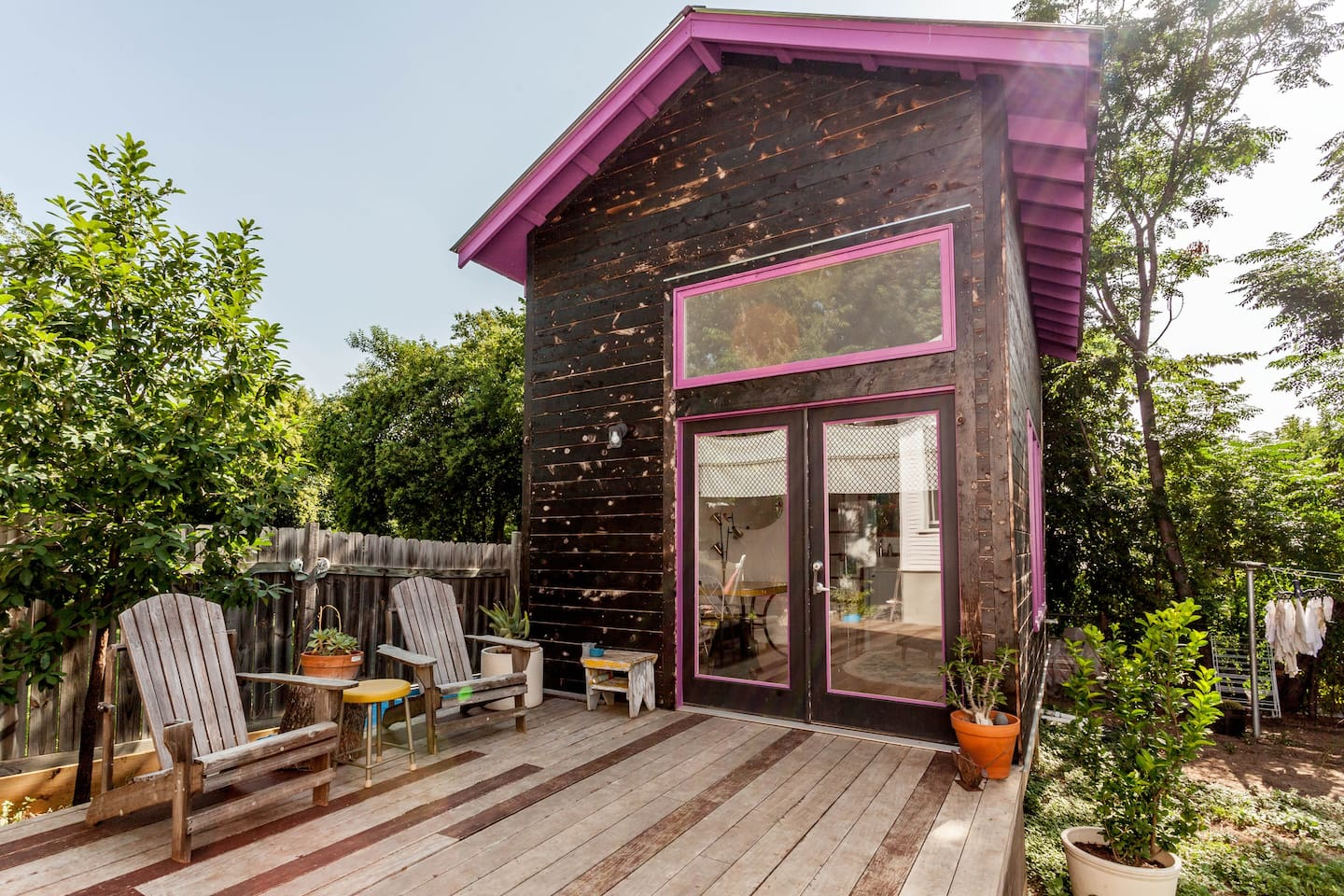 Lofted backyard studio with awesome deck