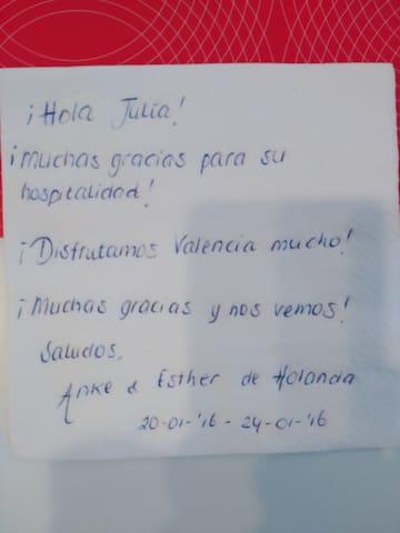 carta agradecimiento de un huésped. Esther