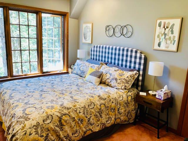 Sunlit Comfort Room with handmade Hastens bed
