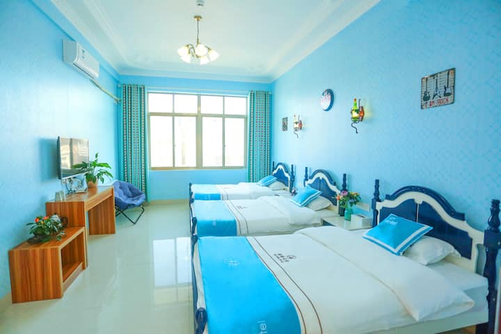 湄洲岛海缘之家宾馆—地中海主题三人间「码头接送+自助厨房」