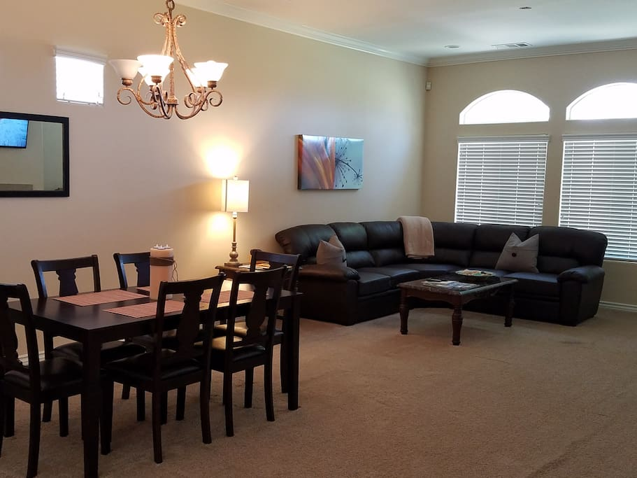 Spacious living room with comfy couch