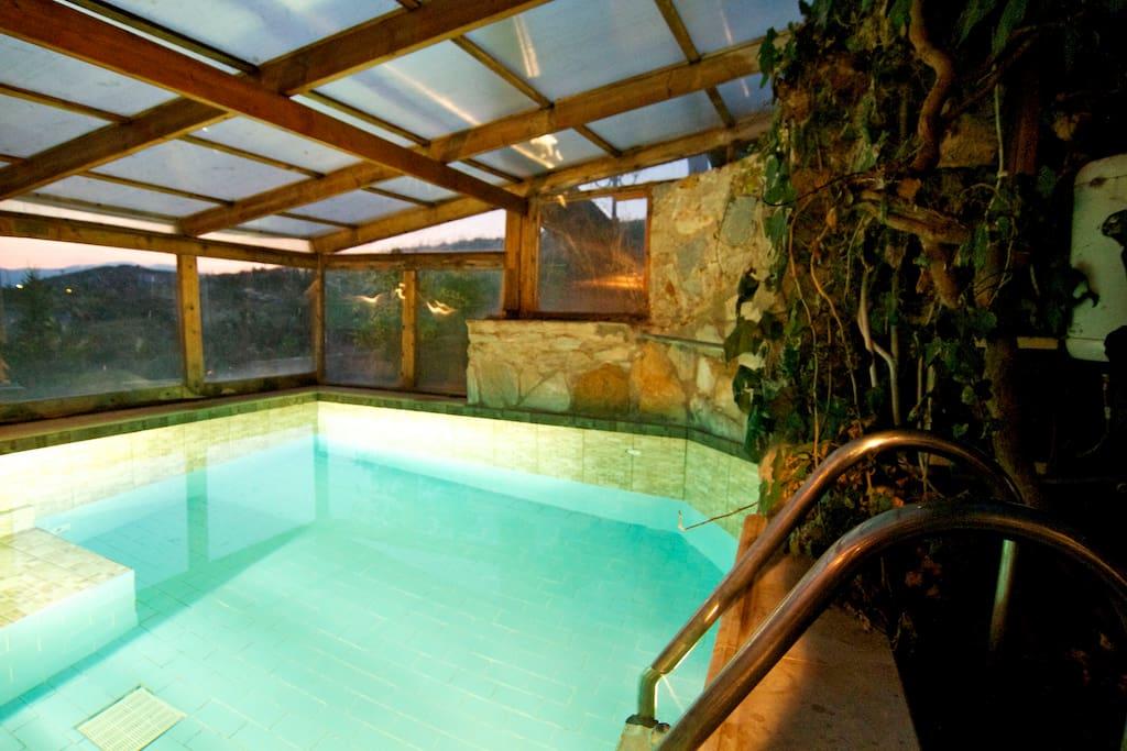 Heated indoor Wellness and Massage Pool lit for evening swim