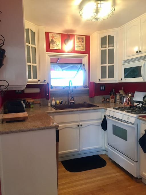 Galley kitchen, fully equipped with everything you need, including a French Press!