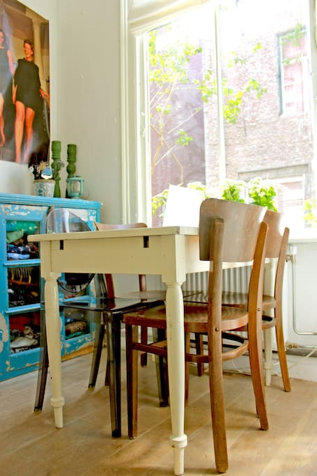 Kitchen area with view on historic Haarlem.
