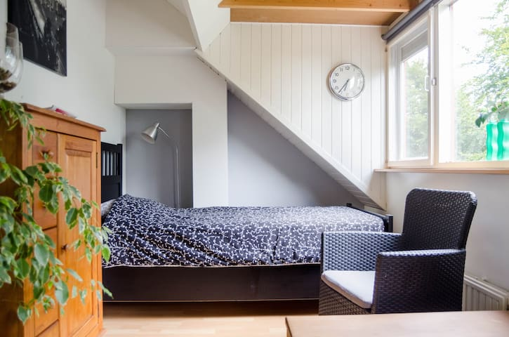 The attic has 2 rooms. one single bed