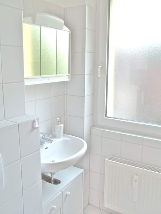 Bathroom: The bathroom, in a delicate white with small color accents, includes many closets to organize toiletries. Included in the bathroom are:  - Bathtub with shower curtain - Wall cupboards - Mirror cabinet with lighting - Further bathroom equipment and toiletries