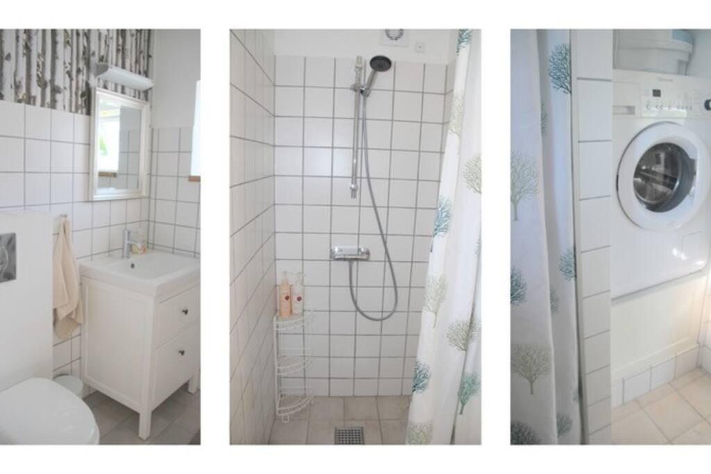 Bad og WC, samt vaskemaskine
