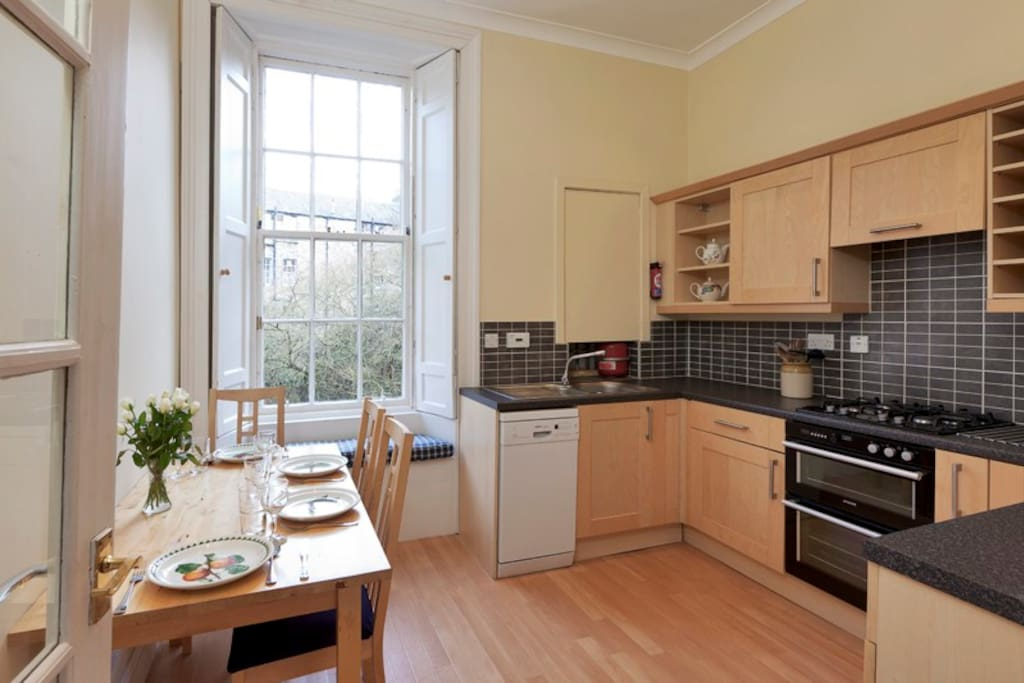 Kitchen overlooking gardens.  Table to seat 4 people.