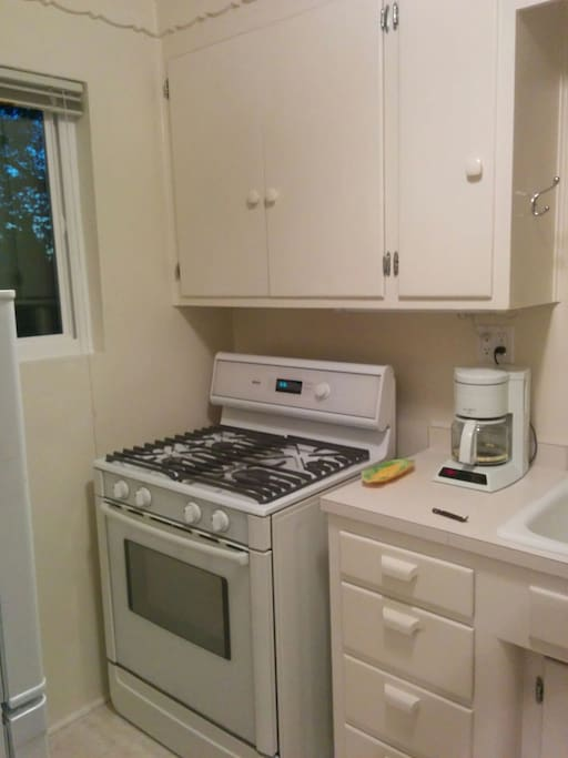 gas stove and oven.