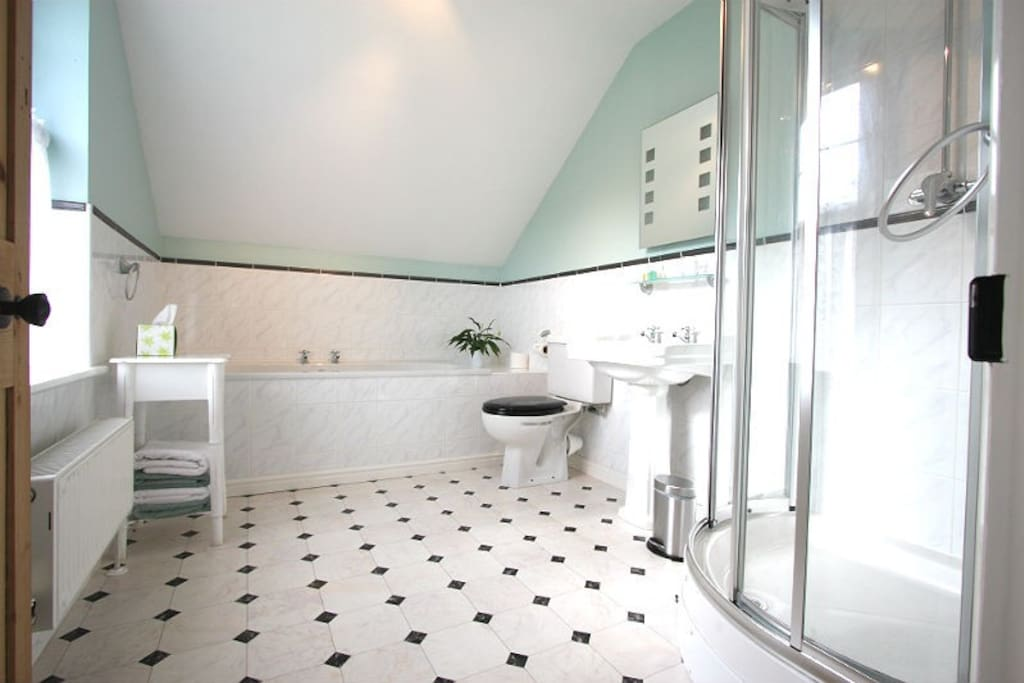A large en suite bathroom with bath and shower.