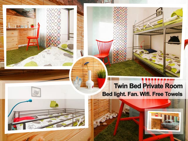 Twin Bed Private Room in Hostel