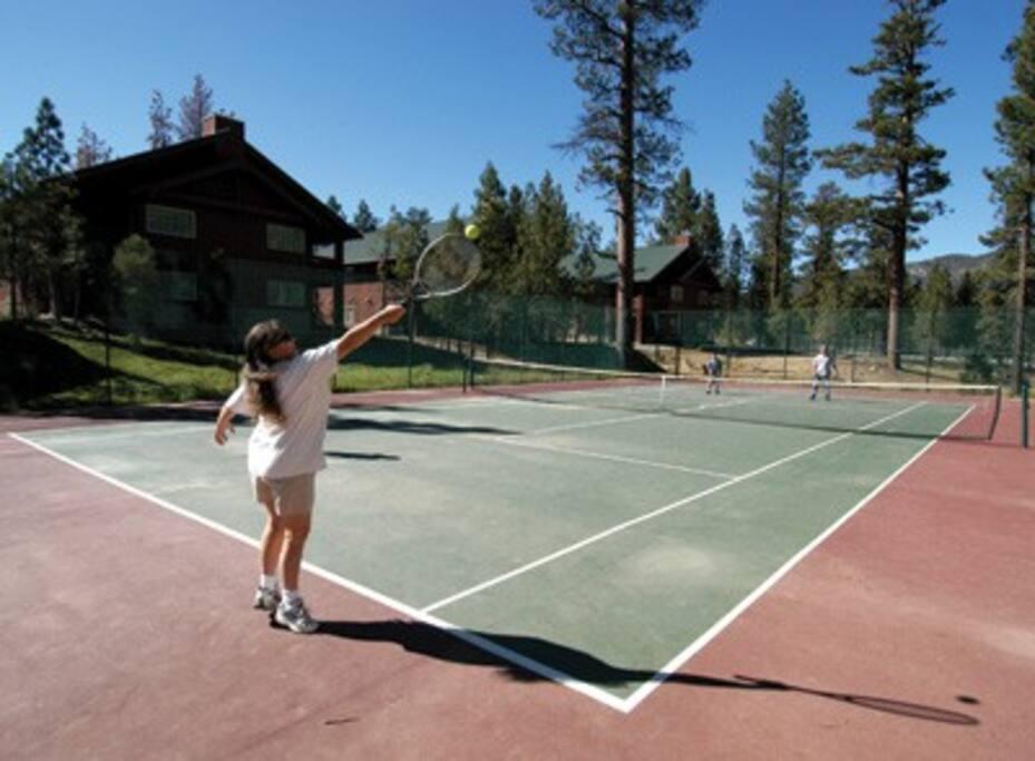 tennis court, basketball court.