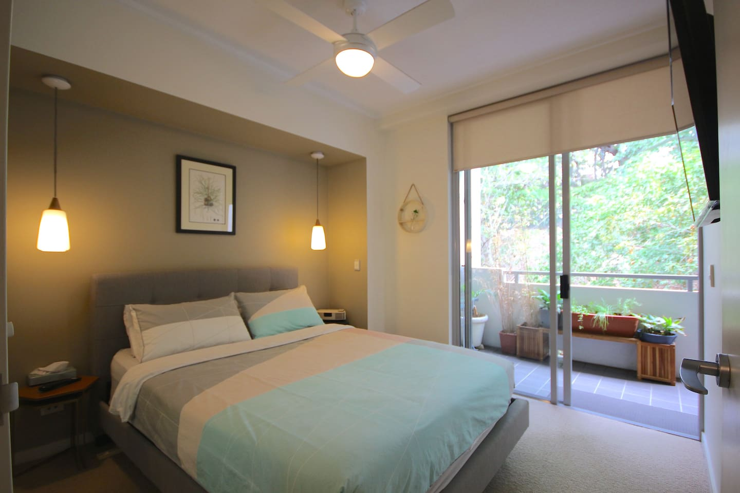 Your room is bright and breezy with ceiling fan and adjoining balcony