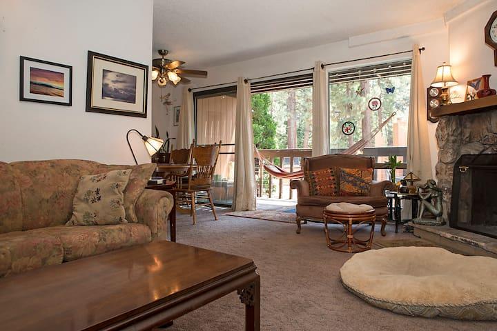 Living room, hammock on deck.