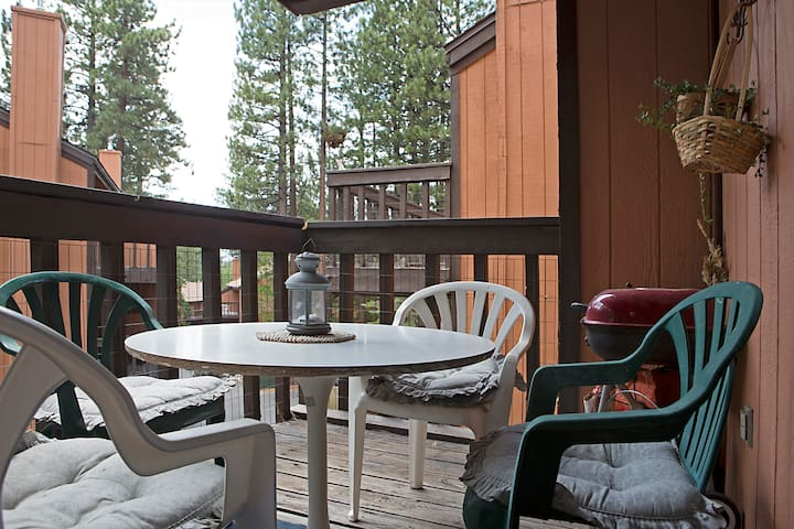 Enjoy a meal or drink on the deck.
