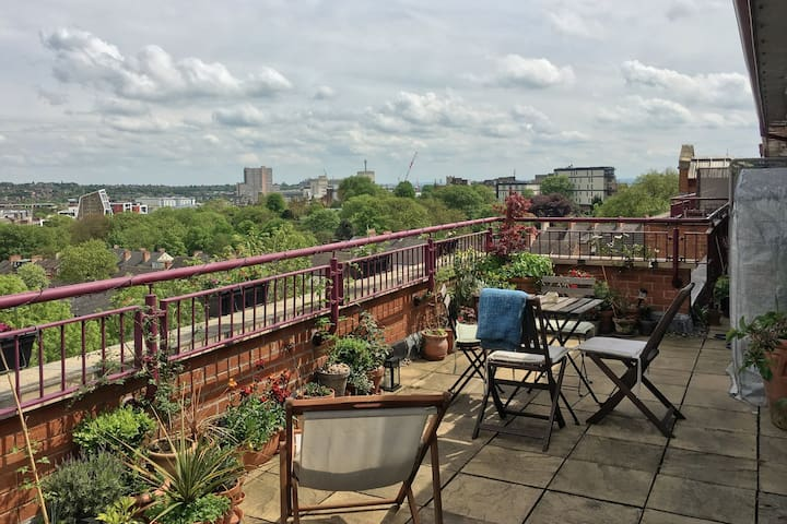 Penthouse Flat, City Center & Spacious Roof Garden