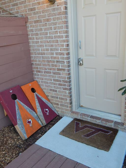 VT themed cornhole and welcome mat