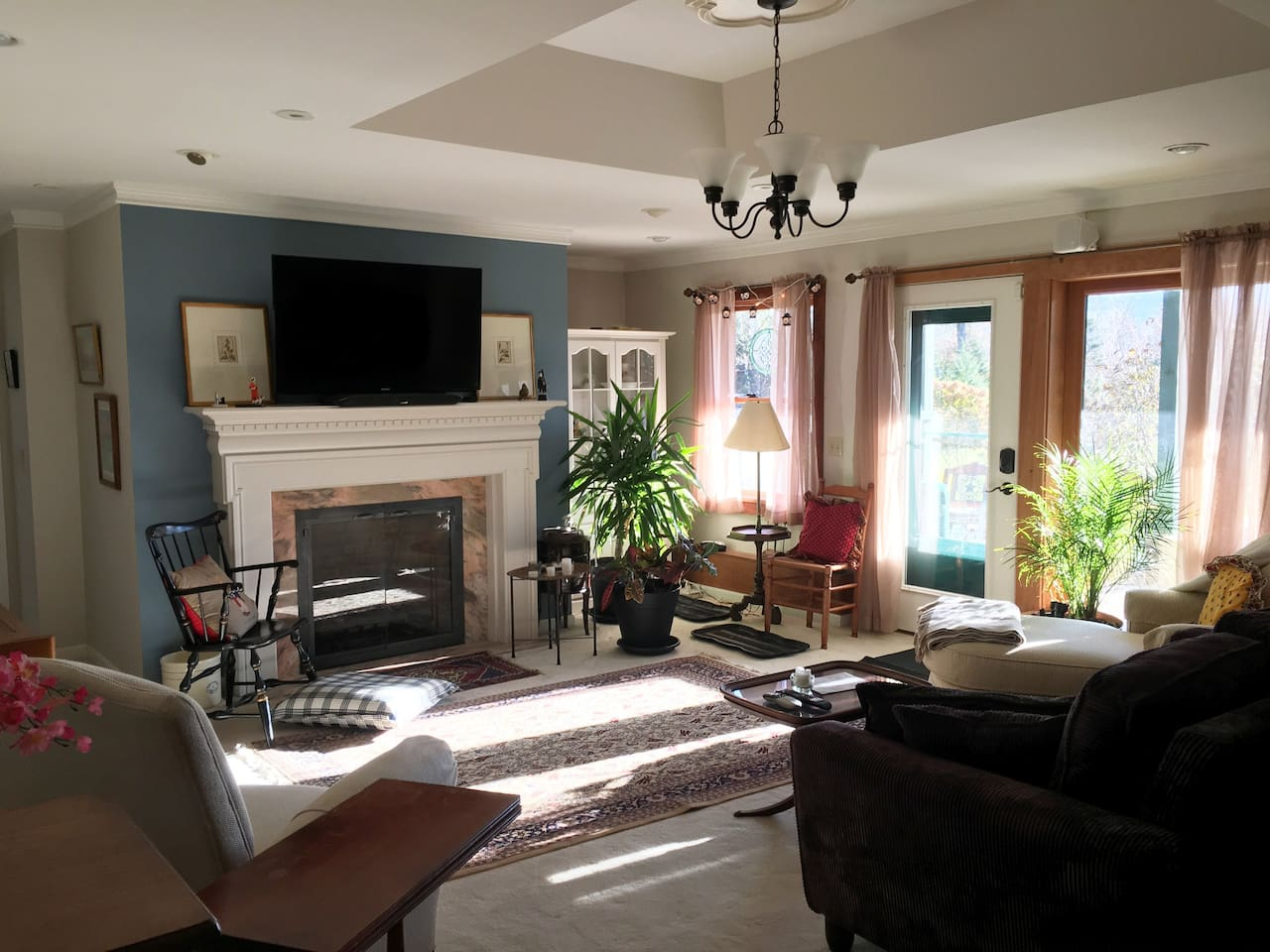 """Apt. """"A"""" Living room, comfort for four+,  Sun-flooded, heated Radiant floors, push-button propane (HOT!) Fireplace, """"Luxury Living"""""""
