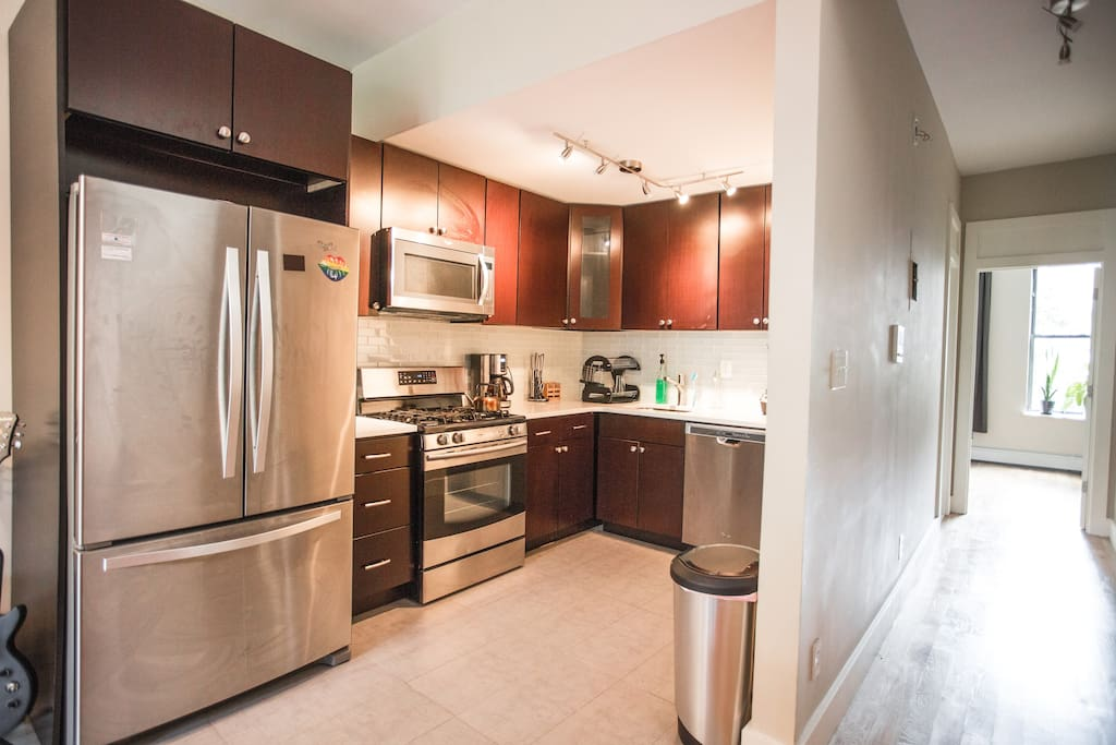 One of our 2 newly remodeled kitchens fully equipped with high-end appliances