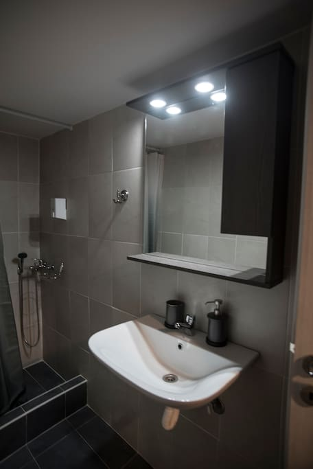 modern bathroom with shower, fully equiped (shampoo, utilities, towels, hair dryer)