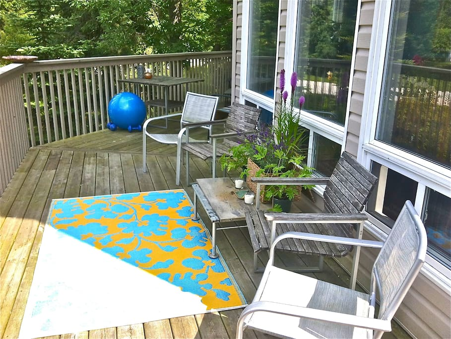 Spacious front deck where birds, frogs, geese, bunnies and other natural elements including the odd human can be heard/seen