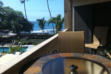 Our newly remodeled  two bedroom two bath condo offers ocean views from the lanai. Sleeps four comfortably with a queen size bed in the master and two twin beds in the second bedroom. Walk in shower.  Includes internet, cable TV, pool and jacuzzi