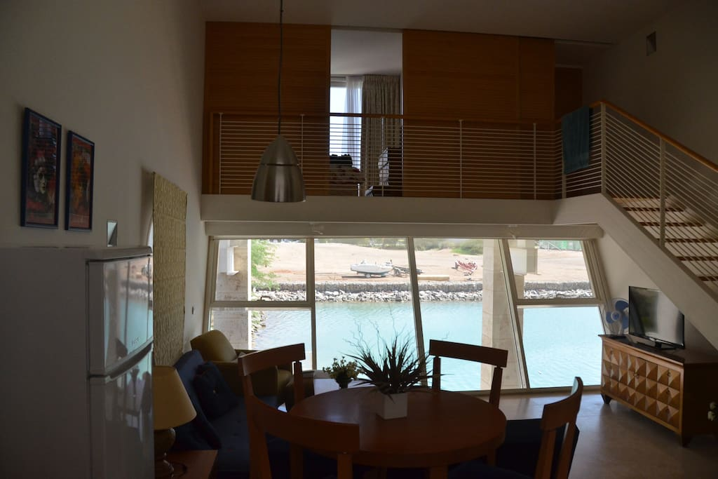 The living room facing the lagoon