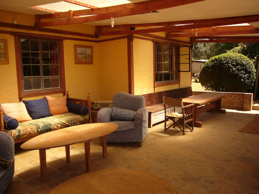Outdoor breakfast area (not attached to the guesthouse itself).