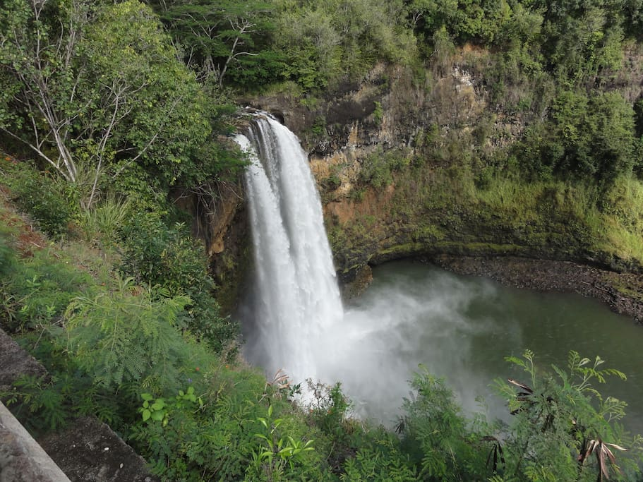 Wailua Falls are nearby
