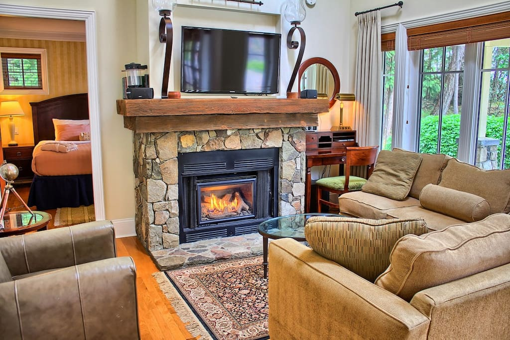 Snuggle up in front of the fireplace