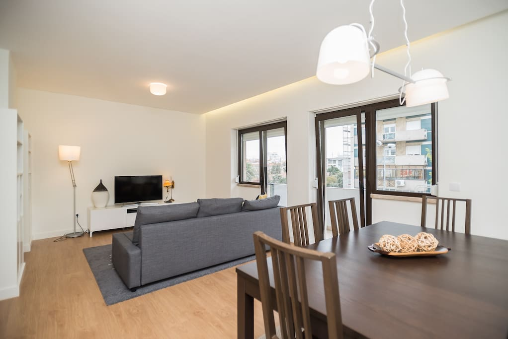 Spacious living room with balcony - sofa bed for 2