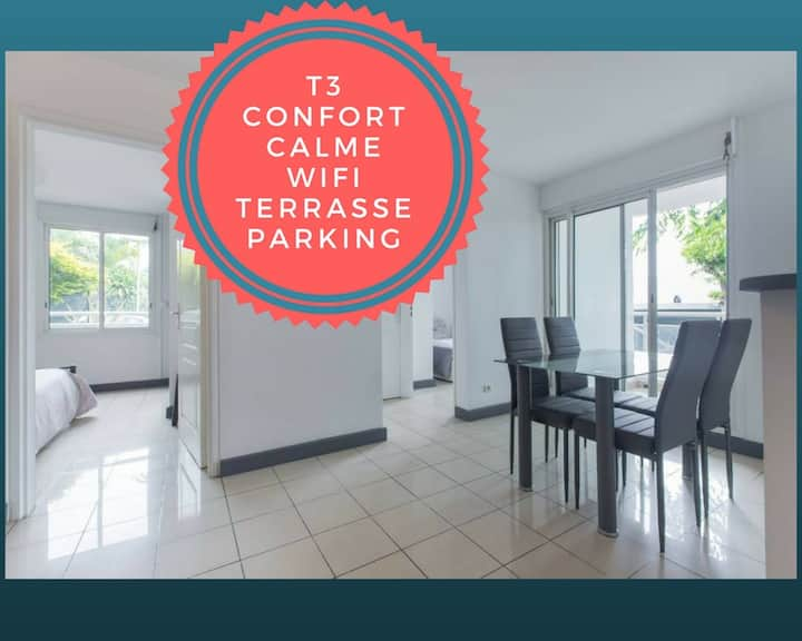 Appartement T3 (2 chambres) + varangue + parking